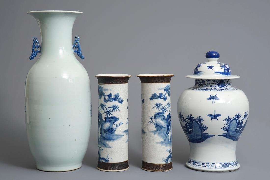 Four Chinese blue and white vases, 19th C. - 3