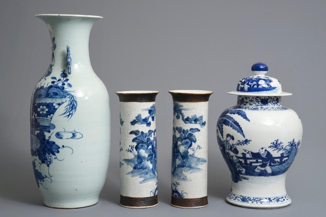 Four Chinese blue and white vases, 19th C. - 4