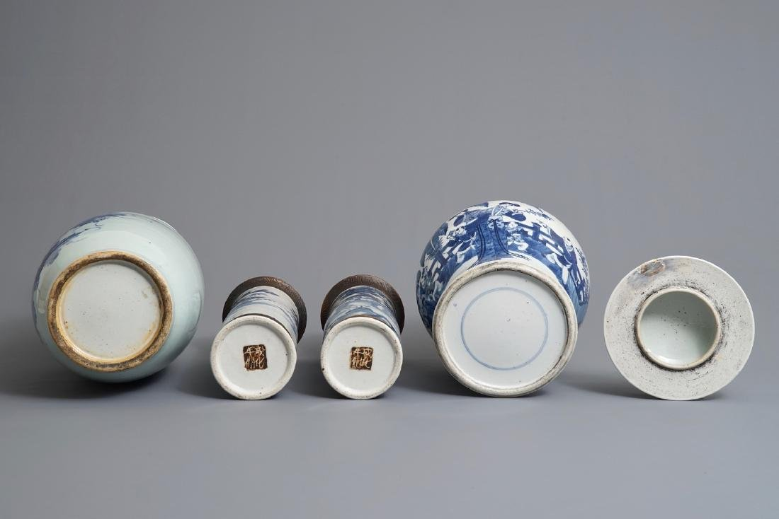 Four Chinese blue and white vases, 19th C. - 6