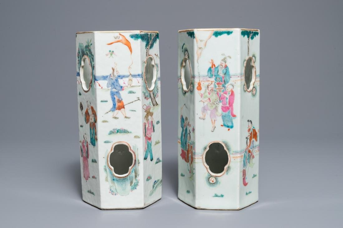 Two Chinese famille rose reticulated hat stands, 19th - 2
