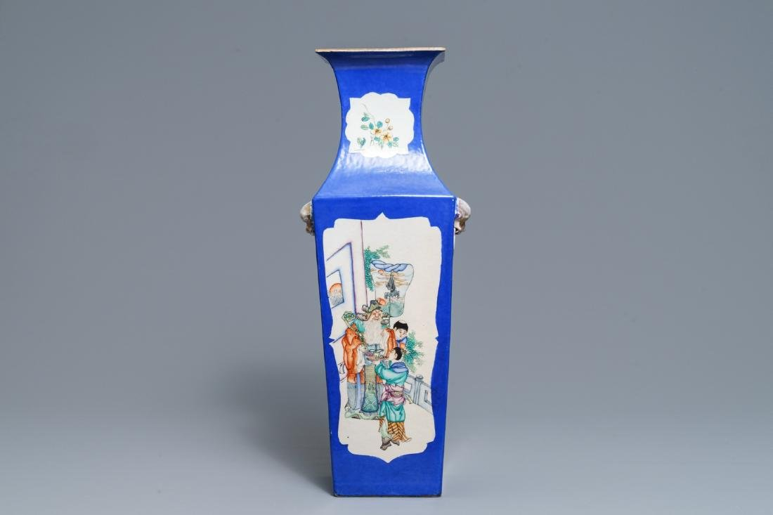 A square Chinese famille rose blue-ground vase, 19th C.