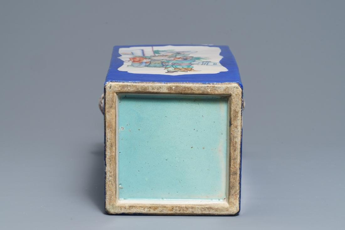 A square Chinese famille rose blue-ground vase, 19th C. - 6