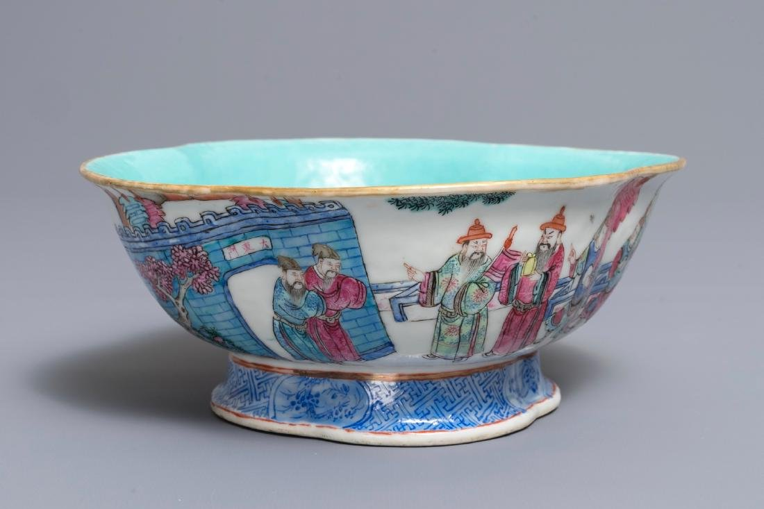 A Chinese famille rose quatre-lobed bowl, Tongzhi mark,
