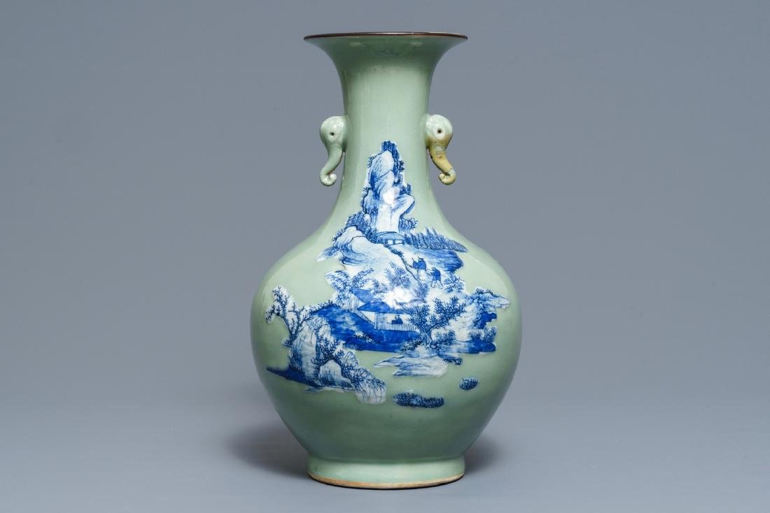 A Chinese blue and white on celadon ground bottle vase,