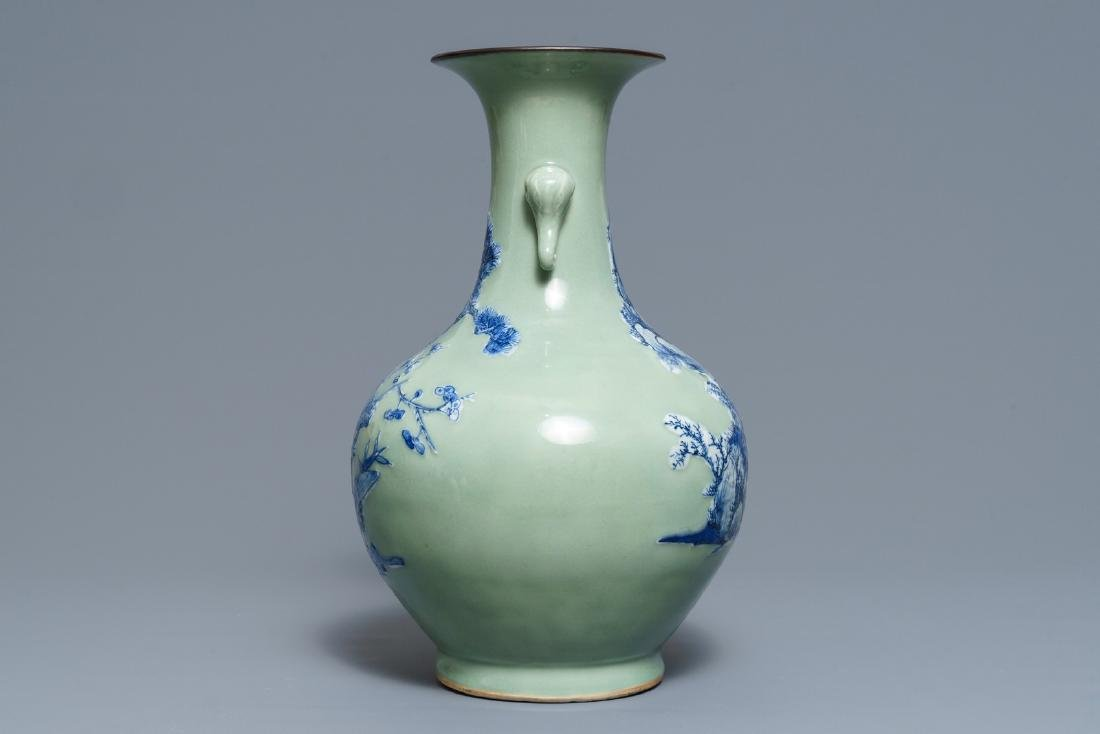 A Chinese blue and white on celadon ground bottle vase, - 2