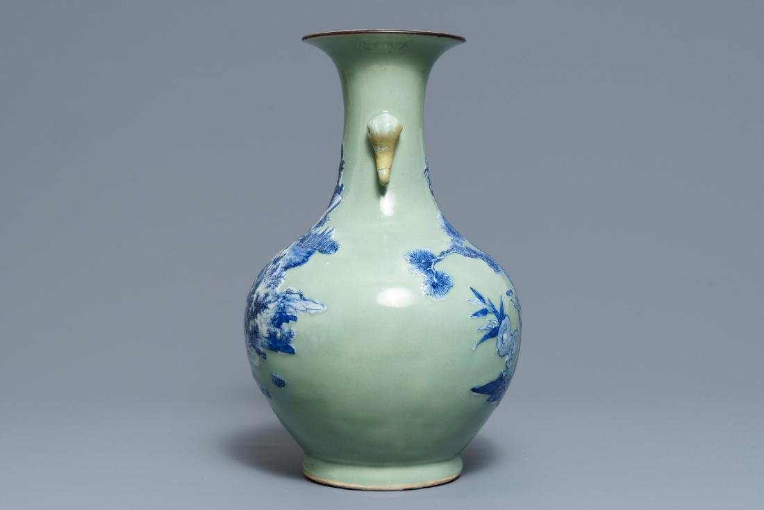 A Chinese blue and white on celadon ground bottle vase, - 4