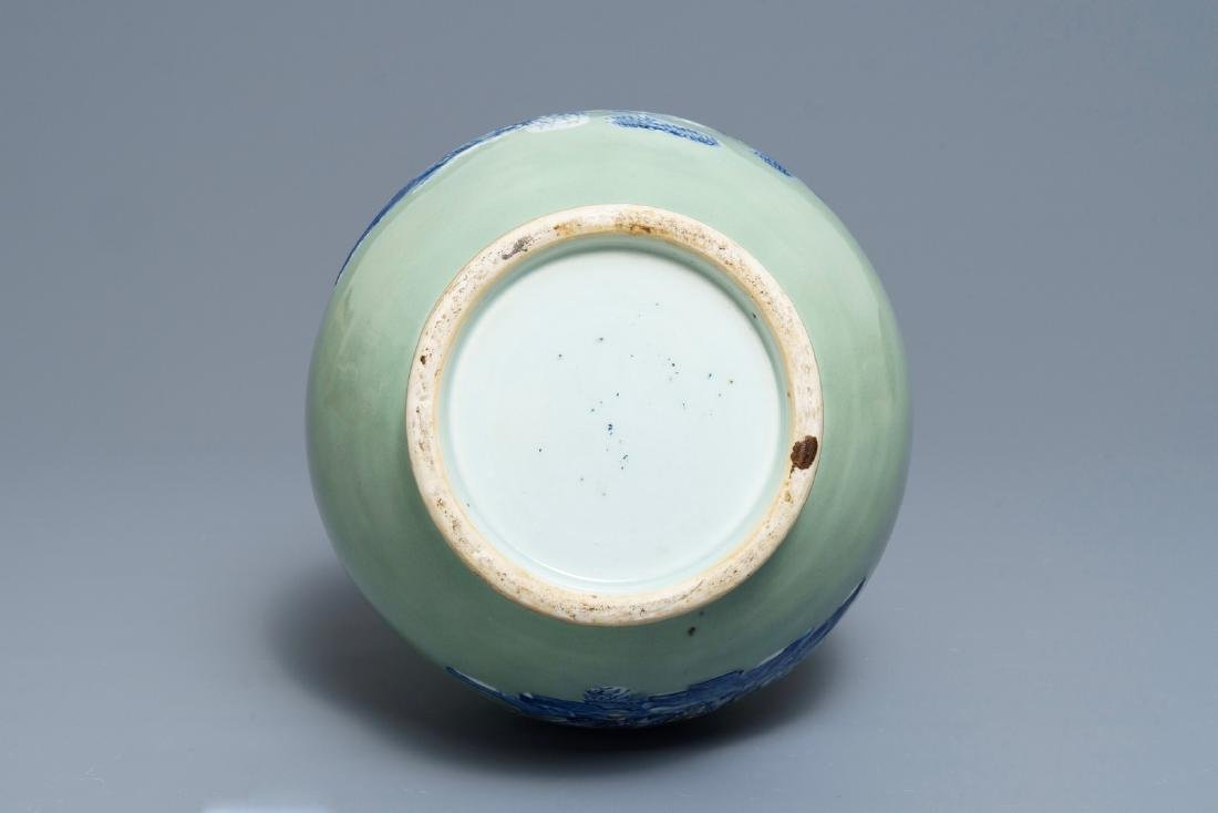 A Chinese blue and white on celadon ground bottle vase, - 5