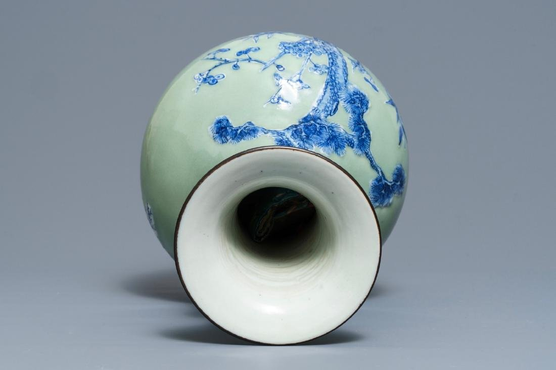 A Chinese blue and white on celadon ground bottle vase, - 6