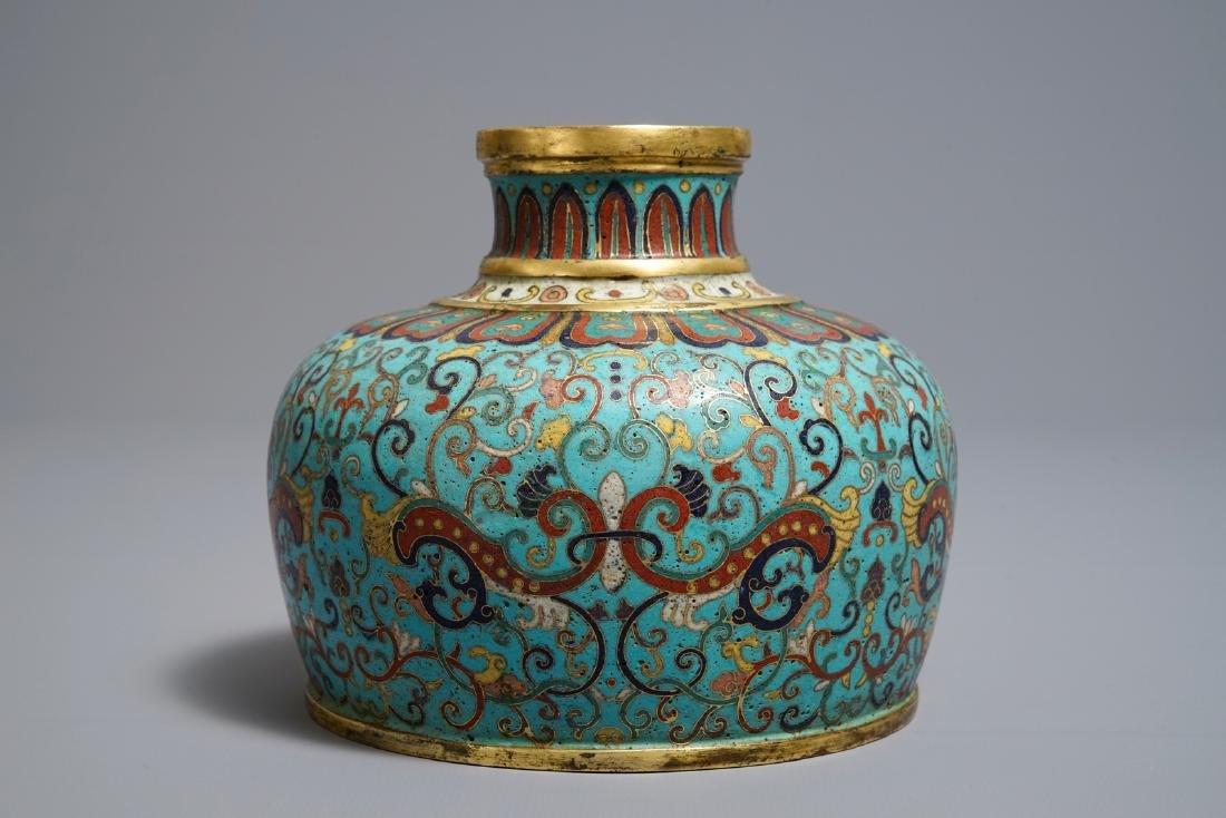 A Chinese cloisonné vase, Qianlong mark, 19/20th C.