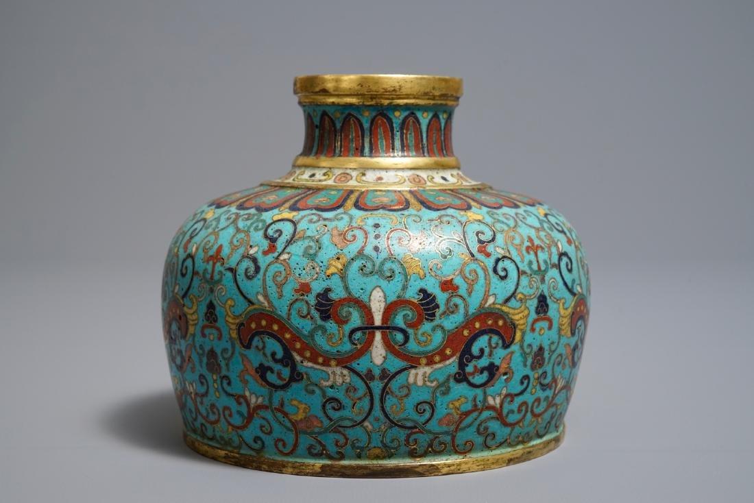 A Chinese cloisonné vase, Qianlong mark, 19/20th C. - 2