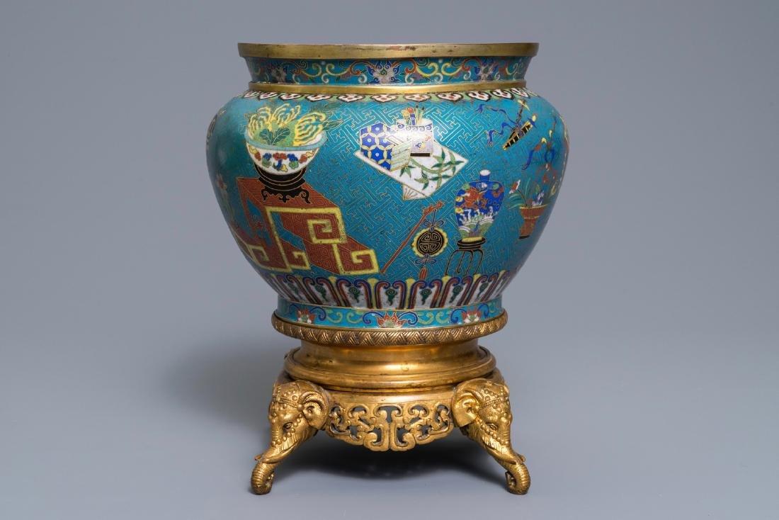 A Chinese cloisonné '100 antiquities' jardinière on