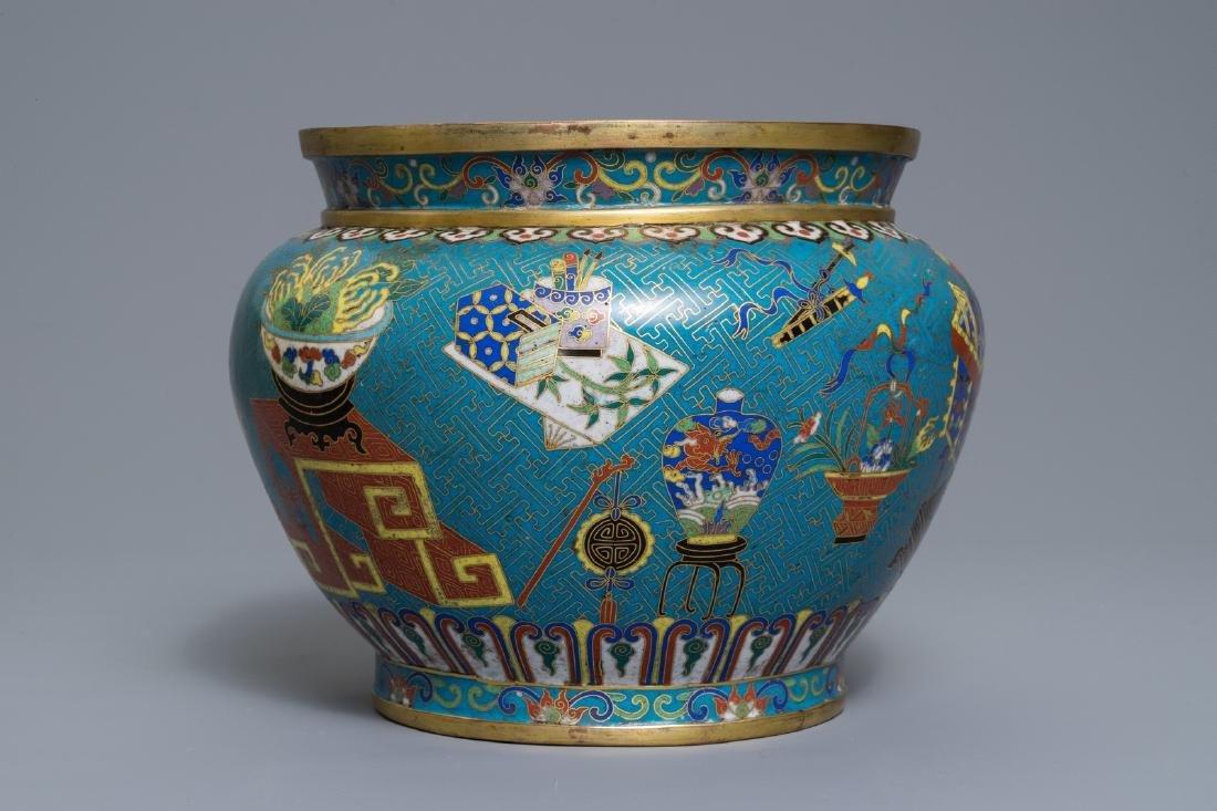 A Chinese cloisonné '100 antiquities' jardinière on - 2