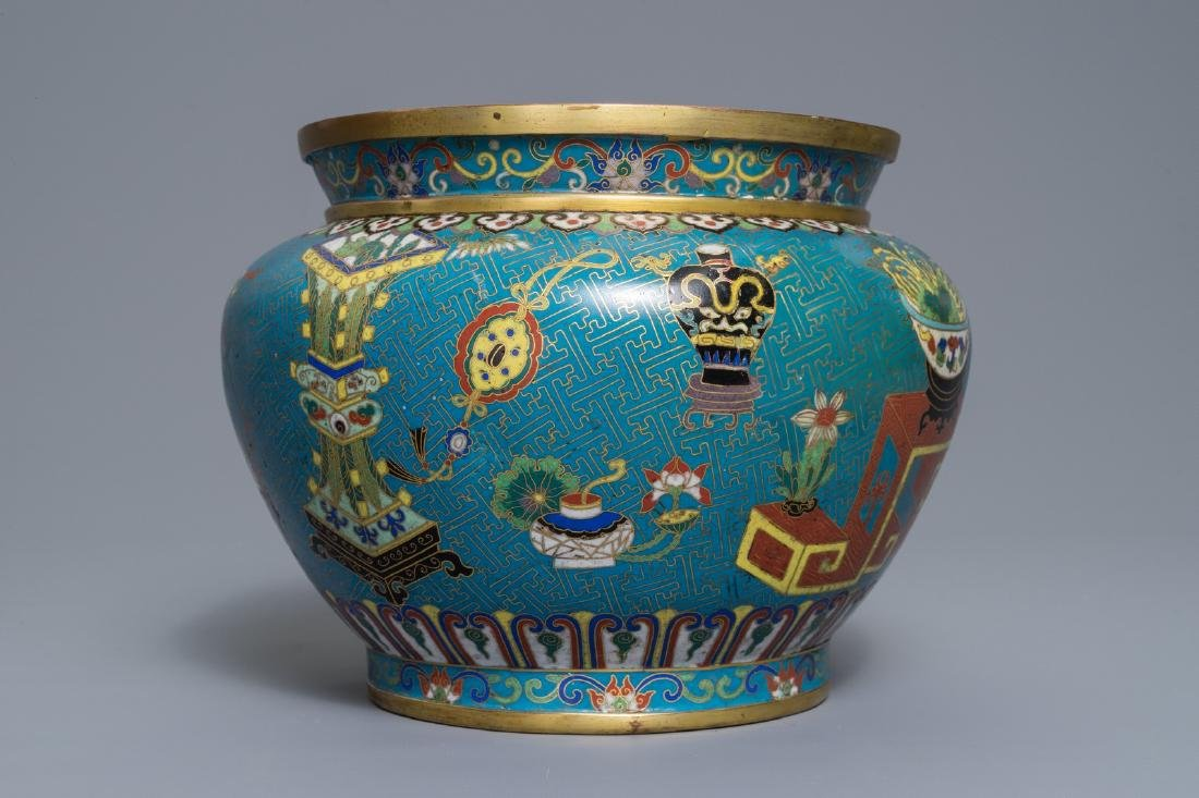 A Chinese cloisonné '100 antiquities' jardinière on - 5