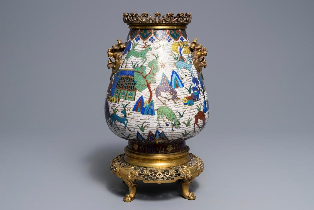 A Chinese gilt-bronze mounted cloisonné hu vase with