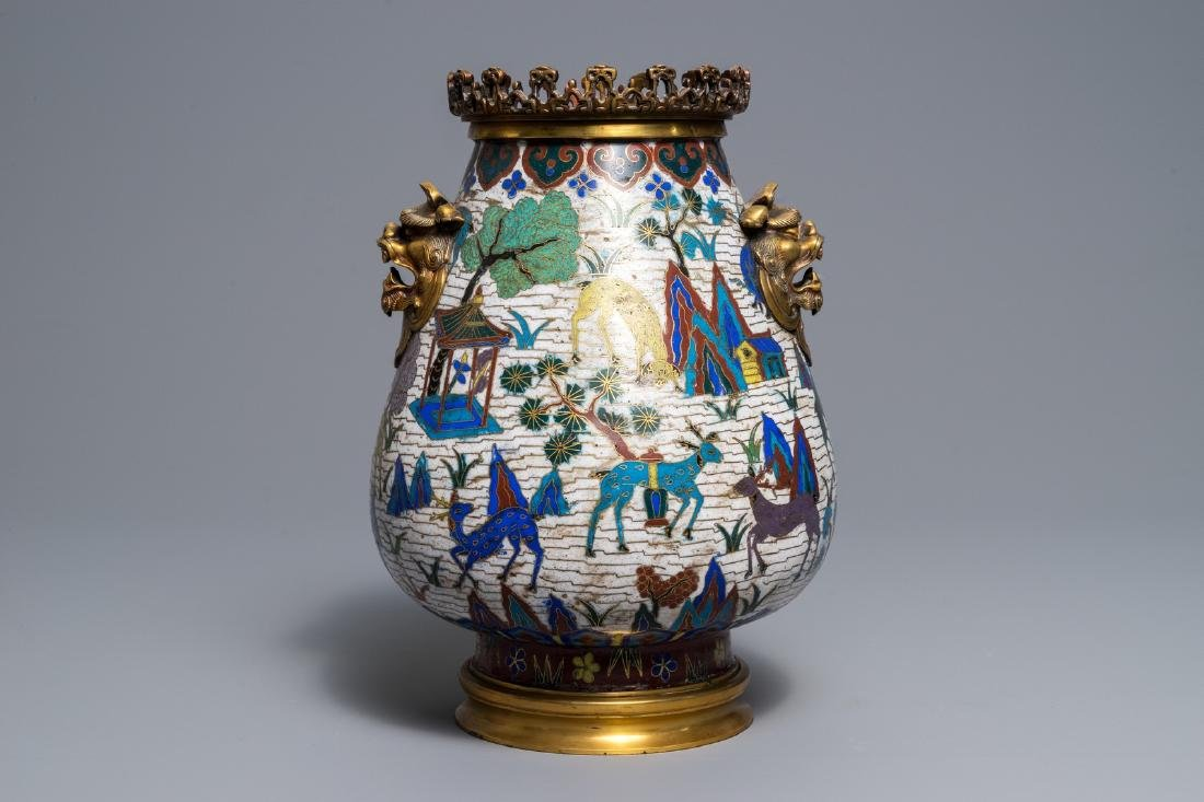 A Chinese gilt-bronze mounted cloisonné hu vase with - 3