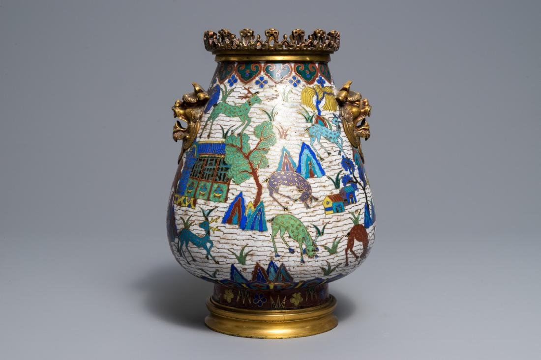 A Chinese gilt-bronze mounted cloisonné hu vase with - 5