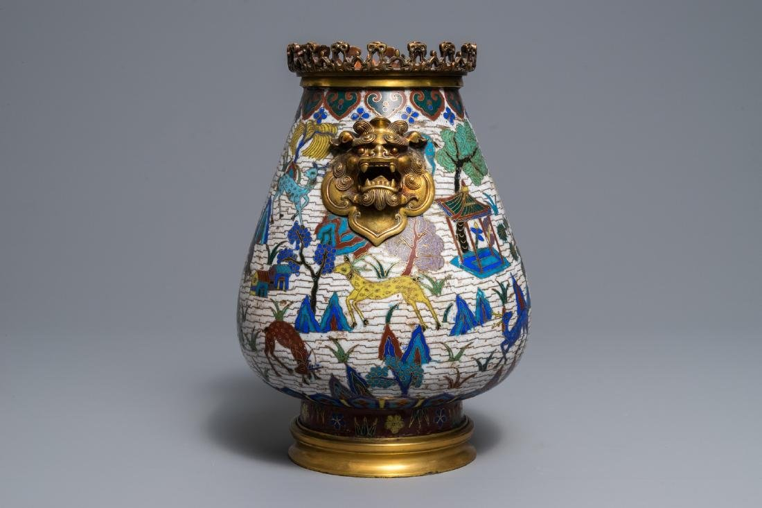 A Chinese gilt-bronze mounted cloisonné hu vase with - 6