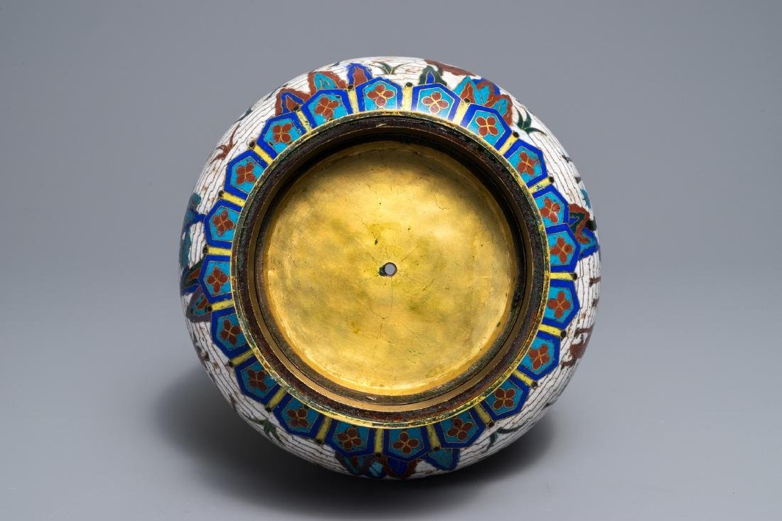 A Chinese gilt-bronze mounted cloisonné hu vase with - 7
