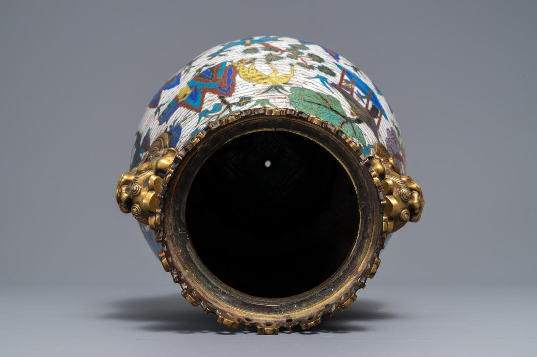 A Chinese gilt-bronze mounted cloisonné hu vase with - 8