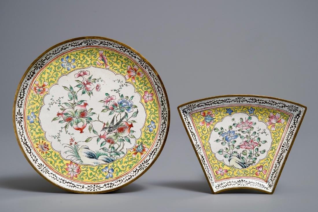 A Chinese Canton enamel sweetmeat set, Qianlong - 3