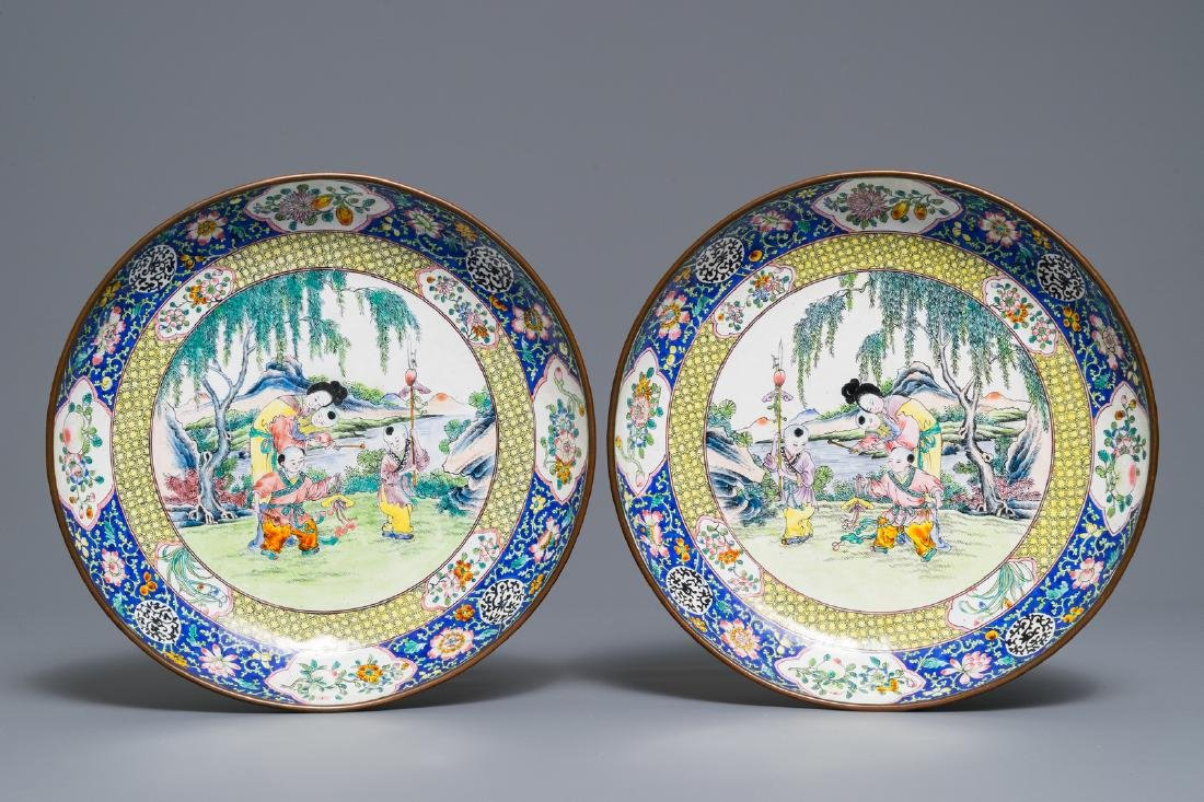 A pair of Chinese Canton enamel plates with ladies and