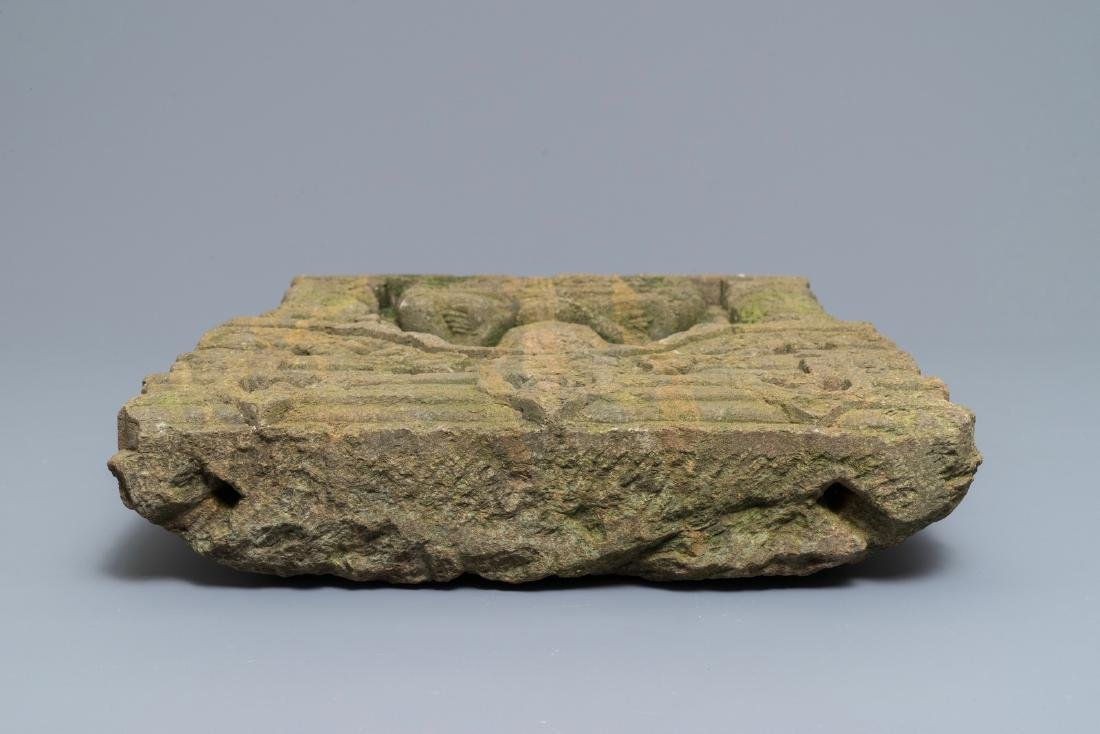 Indian sandstone relief: Buddha seated in temple, India - 5