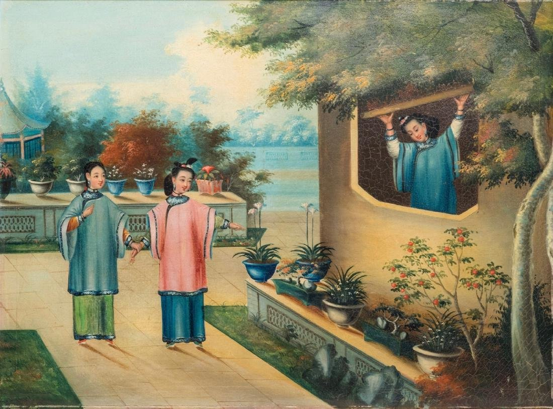 An Anglo-Chinese export painting: Ladies on a terrace,