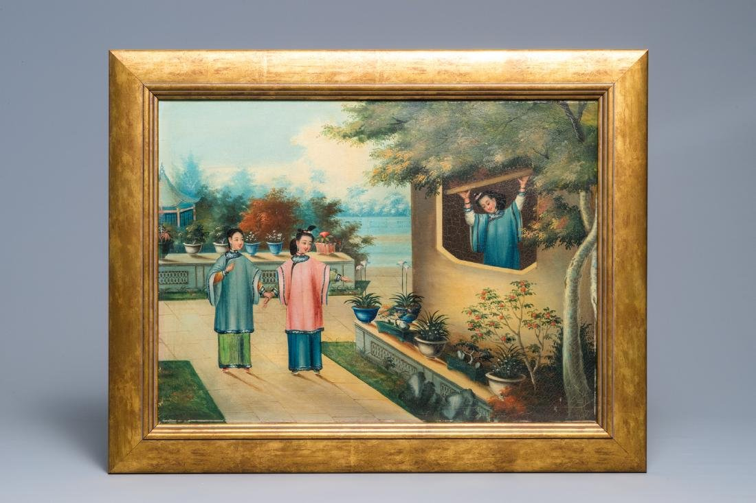 An Anglo-Chinese export painting: Ladies on a terrace, - 2
