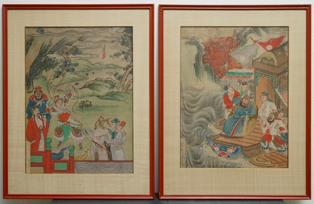 Chinese school: Two court scenes, ink and colour on
