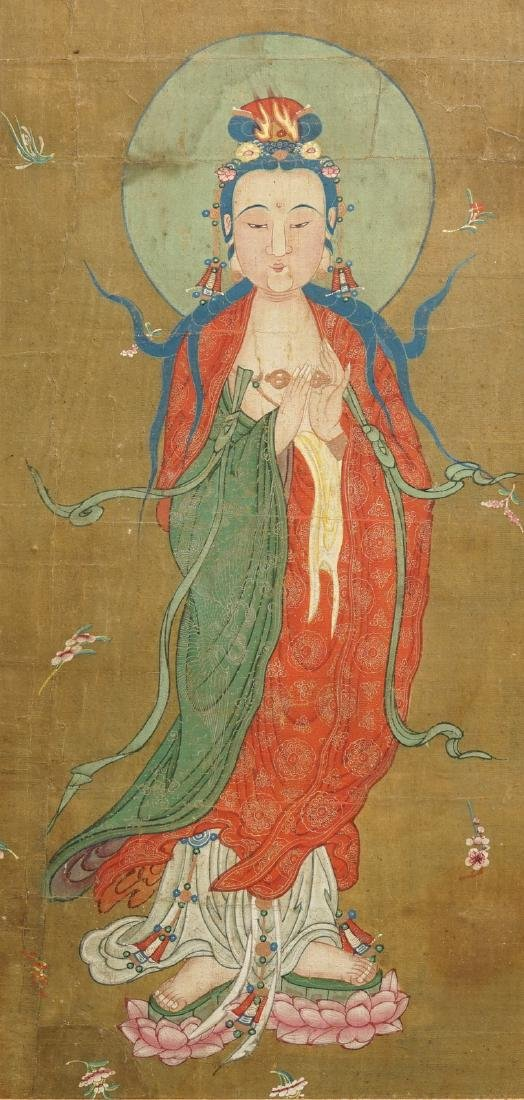 Chinese school: The goddess Guanyin standing, ink and