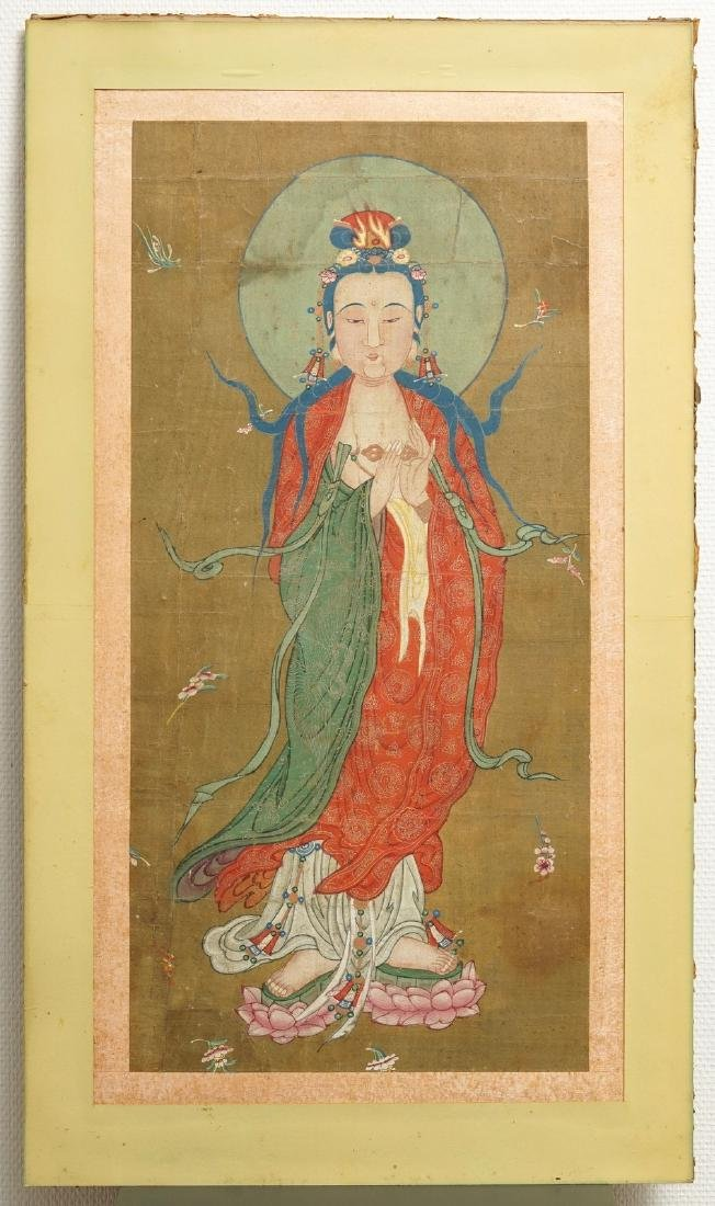 Chinese school: The goddess Guanyin standing, ink and - 2