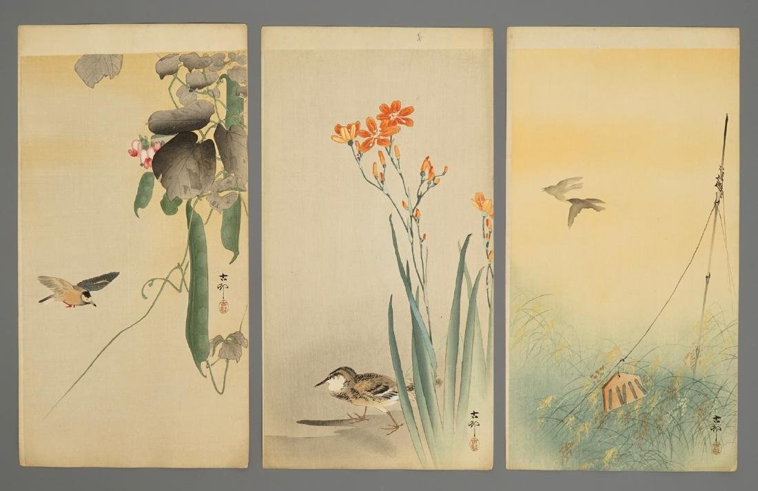 Ten Japanese watercolour paintings of animals and - 4