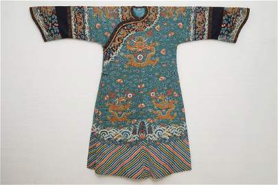 A Chinese embroidered turquoise-ground five-clawed