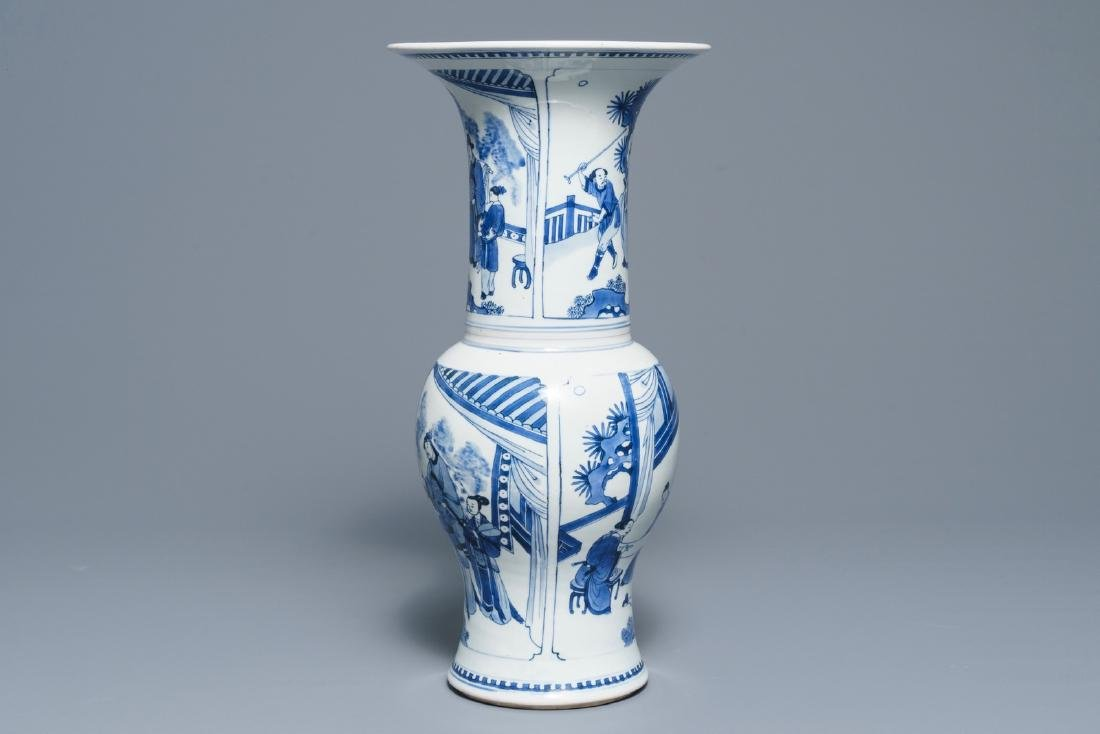 A Chinese blue and white yenyen vase with figures on a - 2