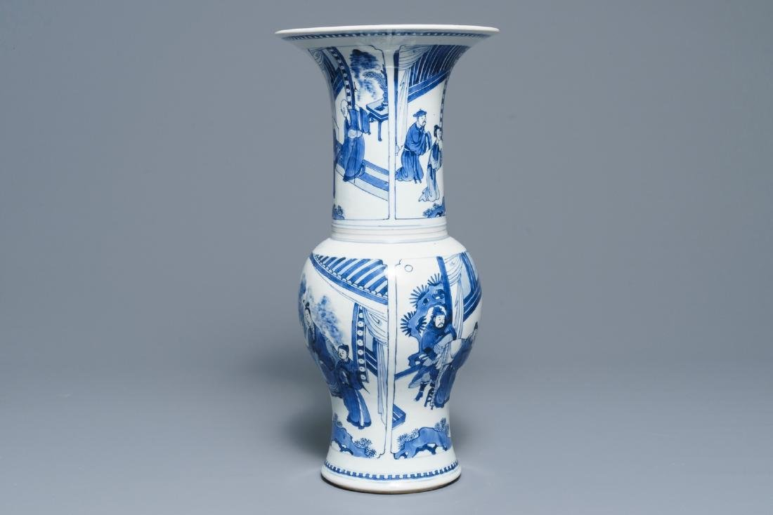 A Chinese blue and white yenyen vase with figures on a - 4