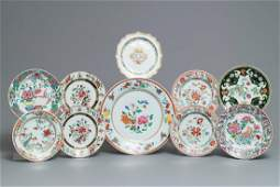Ten various Chinese famille rose plates Yongzheng and