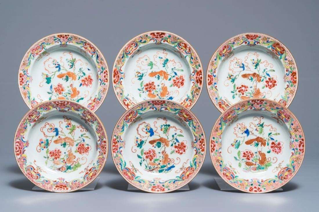 Six Chinese famille rose soup plates with squirrels
