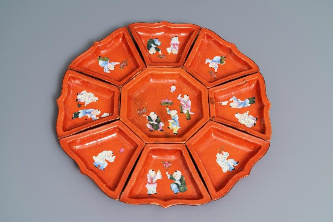 A Chinese famille rose coral red-ground sweetmeat set,