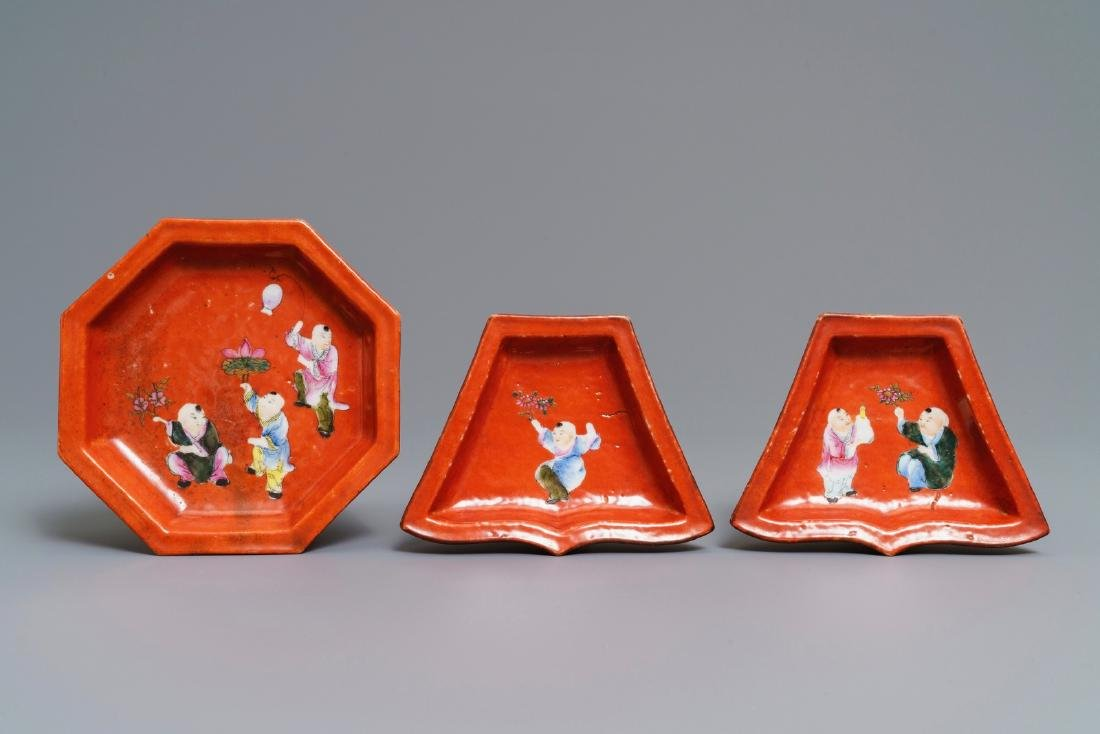 A Chinese famille rose coral red-ground sweetmeat set, - 3