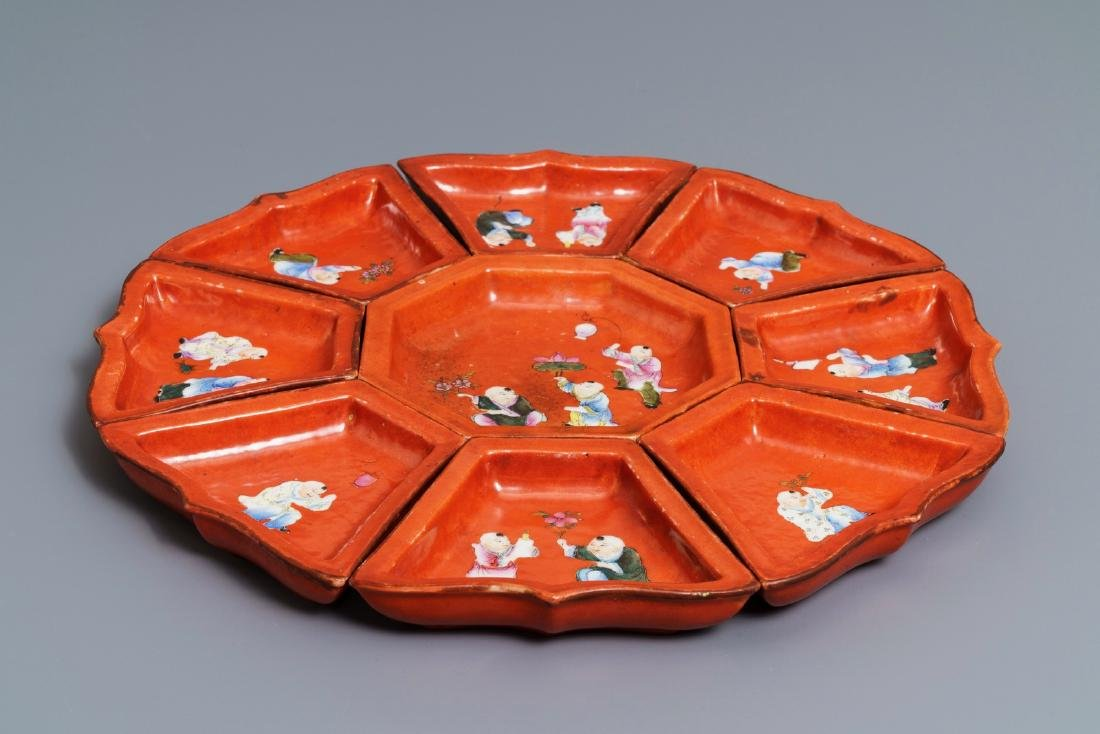 A Chinese famille rose coral red-ground sweetmeat set, - 5