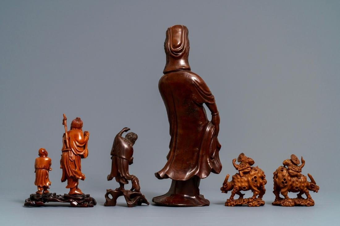 Six Chinese carved wood figures, 19/20th C. - 4
