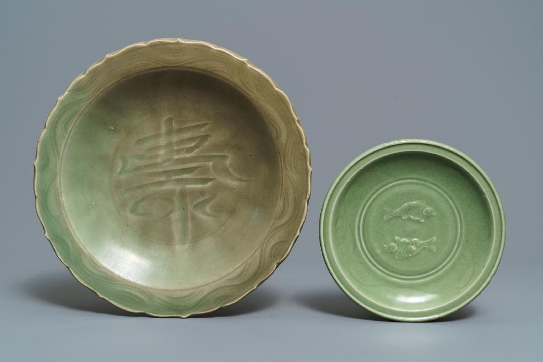 Two Chinese Longquan celadon dishes and three bowls, - 2