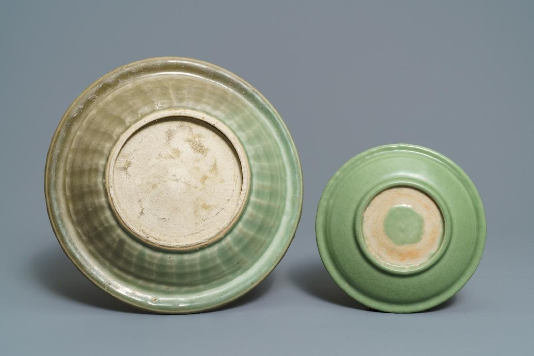Two Chinese Longquan celadon dishes and three bowls, - 3