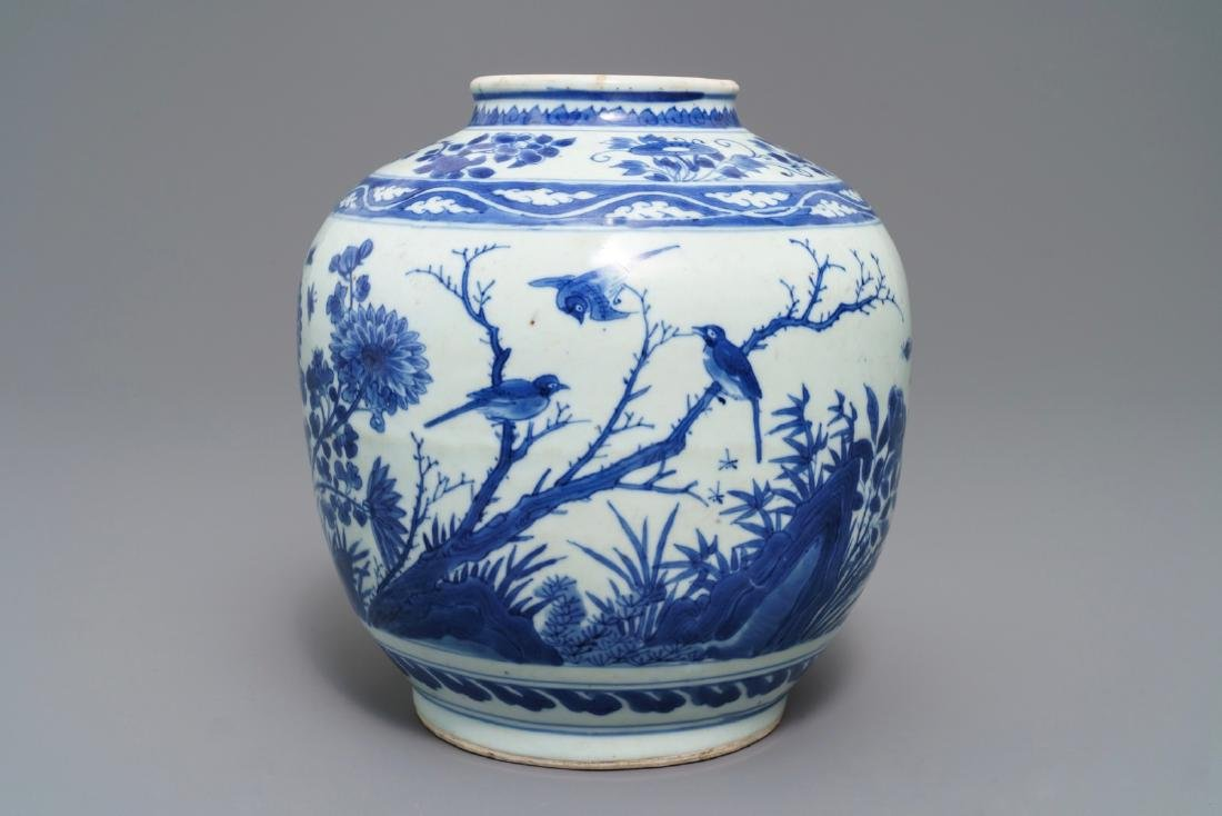 A Chinese blue and white vase with birds among flowers,