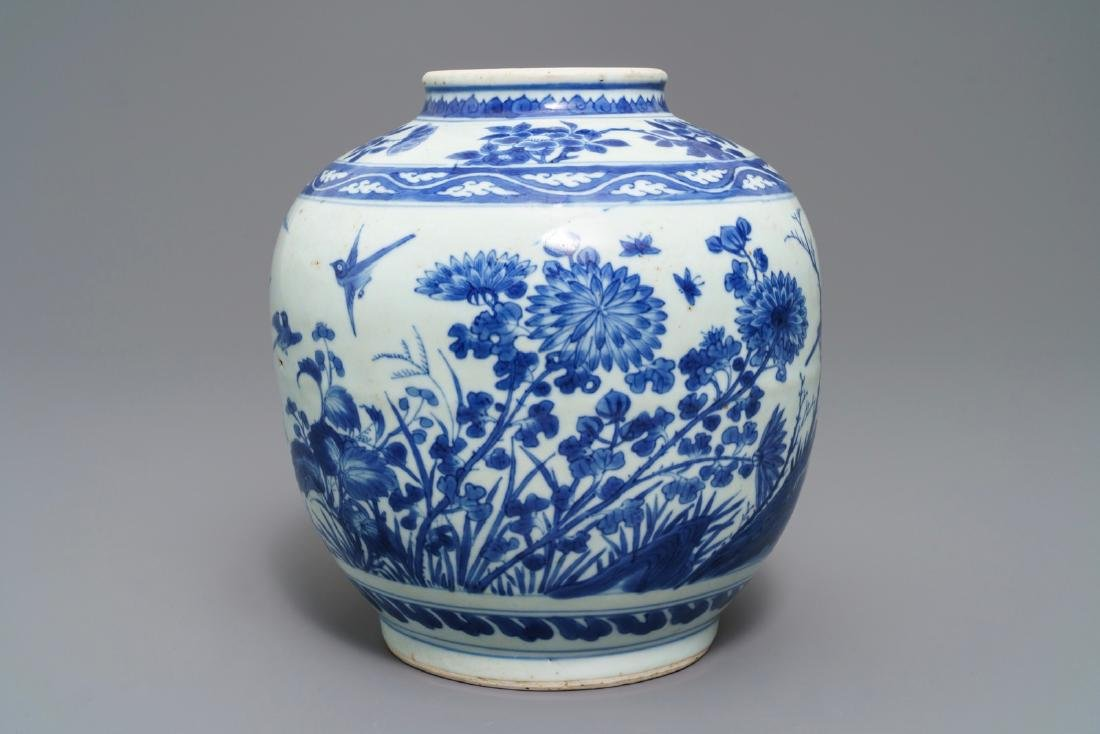 A Chinese blue and white vase with birds among flowers, - 2