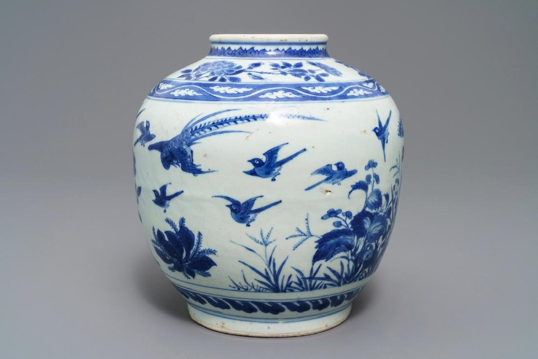 A Chinese blue and white vase with birds among flowers, - 3