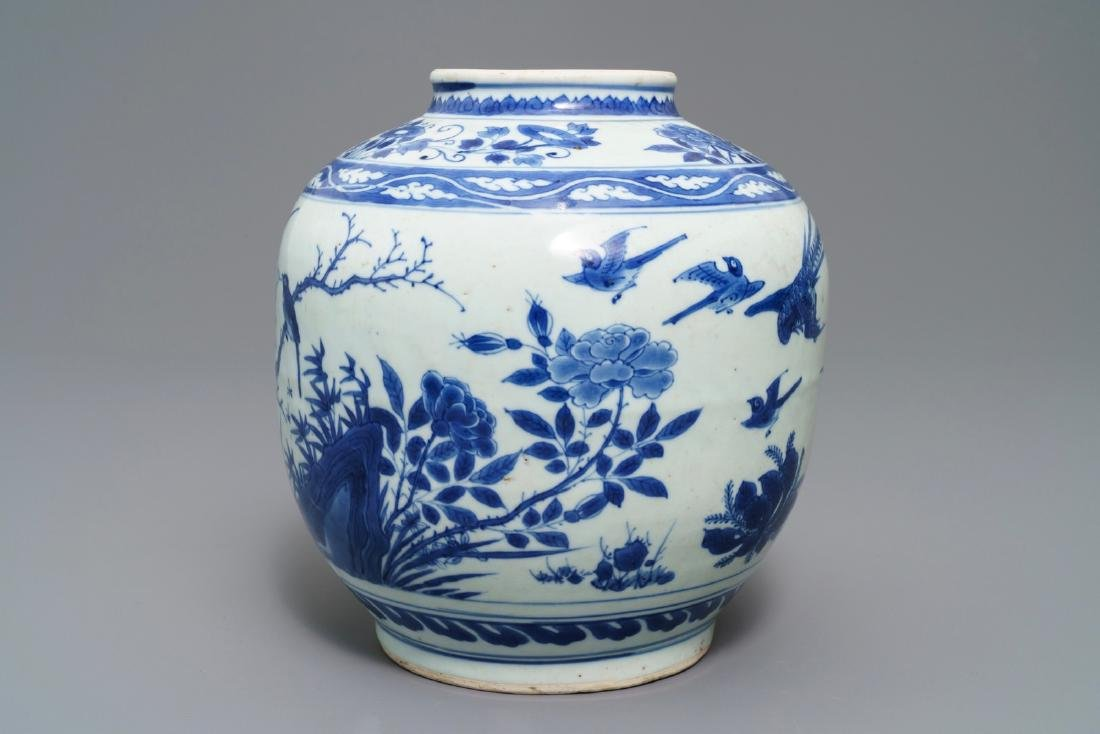 A Chinese blue and white vase with birds among flowers, - 4