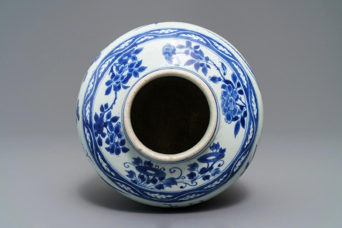 A Chinese blue and white vase with birds among flowers, - 5