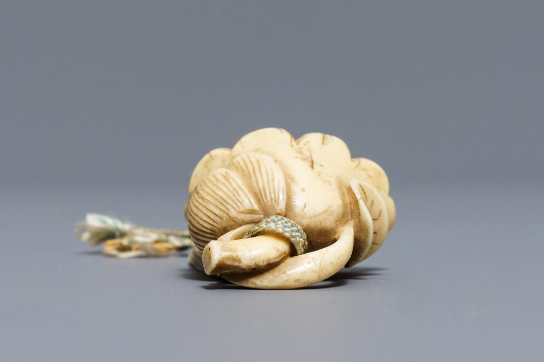 A Japanese  'lotus flower' netsuke, Edo, 18th - 6