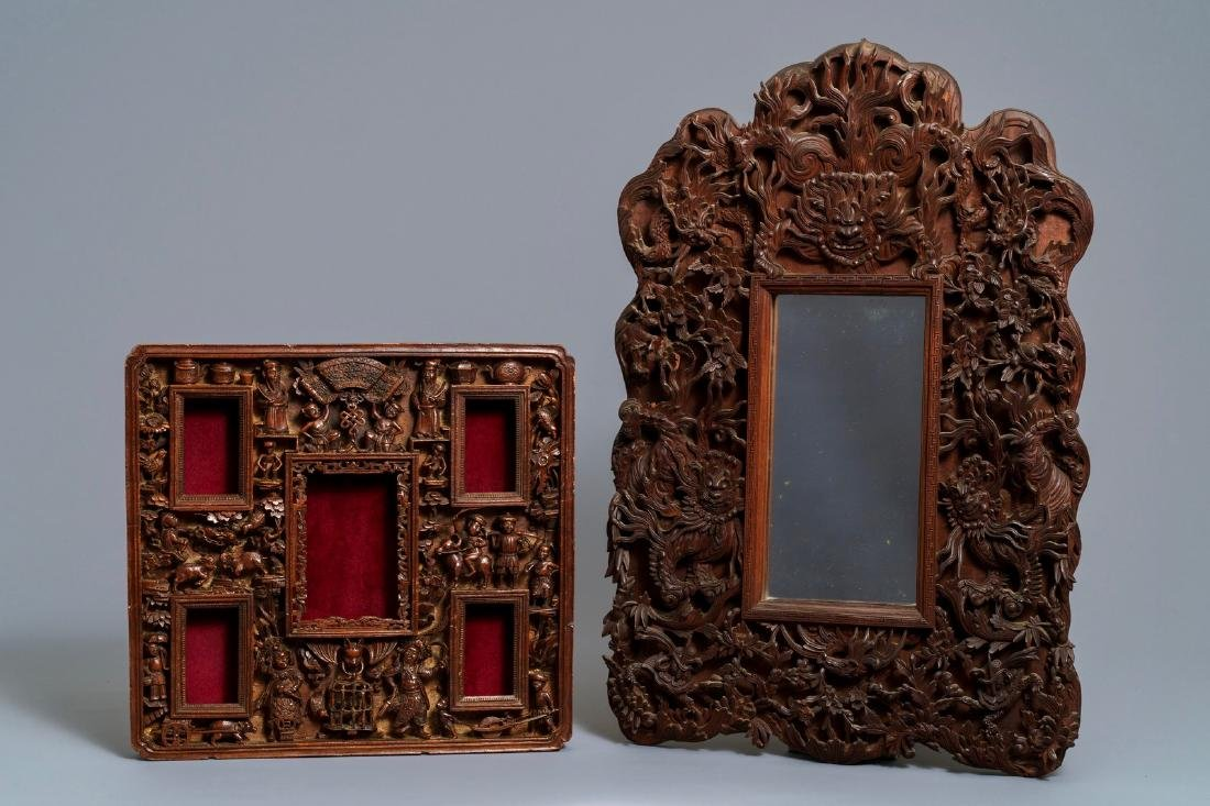 Two Chinese carved wood frames with dragons and
